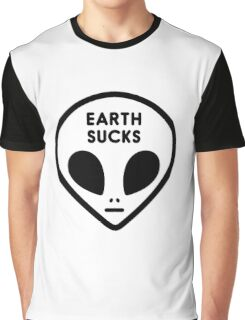 Cute Funny Cool Outer Space Alien Face Earth Sucks Black White Graphic T-Shirt
