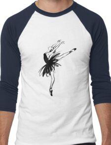 Ballerina in tutu in performance position. Men's Baseball ¾ T-Shirt