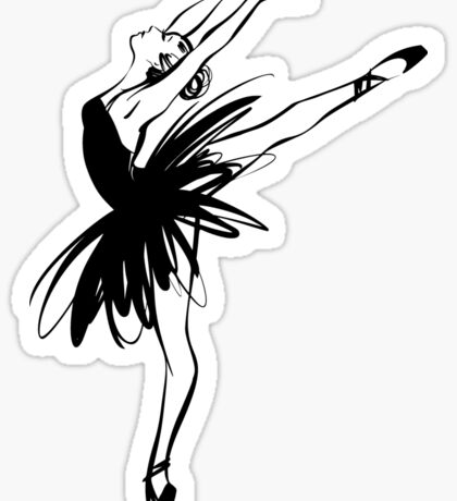 Ballerina in tutu in performance position. Sticker