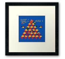 Q*Bert - Video Game, Gamer, Qbert, Orange, Blue, Nerd, Geek, Geekery, Nerdy Framed Print