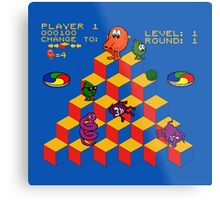 Q*Bert - Video Game, Gamer, Qbert, Orange, Blue, Nerd, Geek, Geekery, Nerdy Metal Print