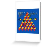 Q*Bert - Video Game, Gamer, Qbert, Orange, Blue, Nerd, Geek, Geekery, Nerdy Greeting Card