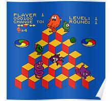 Q*Bert - Video Game, Gamer, Qbert, Orange, Blue, Nerd, Geek, Geekery, Nerdy Poster