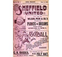 Sheffield United Football Club programme, 1899 Photographic Print