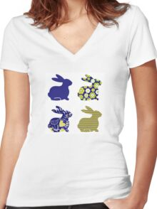 Spring patterned bunny collection : floral Edition Women's Fitted V-Neck T-Shirt