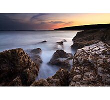 Sunset over the waves, Otter Point, Acadia National Park, Maine Photographic Print