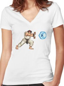 Ryo Hadouken Women's Fitted V-Neck T-Shirt
