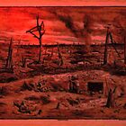 A digital painting of No Man's Land, World War 1 by Dennis Melling