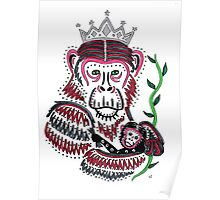Mother and Baby Chimpanzee Poster