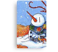 The First Snowman of the Season! Canvas Print