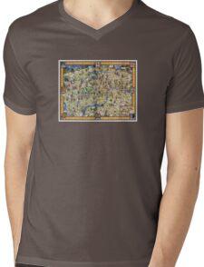 London Vintage Map Poster Restored Mens V-Neck T-Shirt
