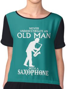 Old Man With A Saxophone Chiffon Top