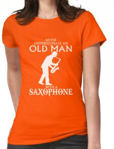 Old Man With A Saxophone Womens Fitted T-Shirt