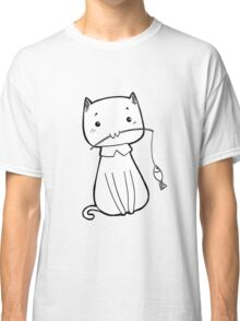 Cat caught fish Classic T-Shirt