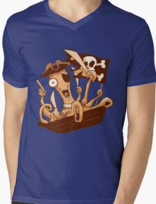 Pirate Octopus Mens V-Neck T-Shirt
