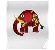 Funny Red Elephant Art T-shirt Poster