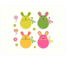 Easter bunnies collection isolated on white Art Print