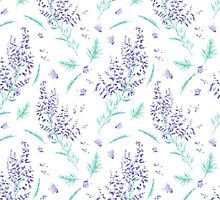 lavender flowers and leaves pattern by kisikoida