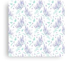 lavender flowers and leaves pattern Canvas Print