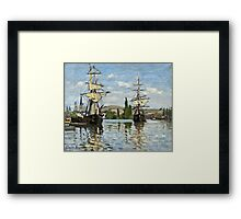 Claude Monet - Ships Riding On The Seine At Rouen 1872  Framed Print