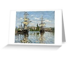 Claude Monet - Ships Riding On The Seine At Rouen 1872  Greeting Card