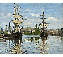 Claude Monet - Ships Riding On The Seine At Rouen 1872  Photographic Print