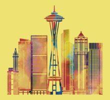 Seattle landmarks watercolor poster Kids Tee