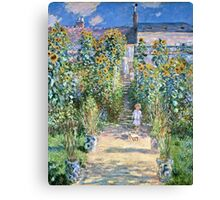 Claude Monet - The Artists Garden At Vetheuil (1880)  Canvas Print