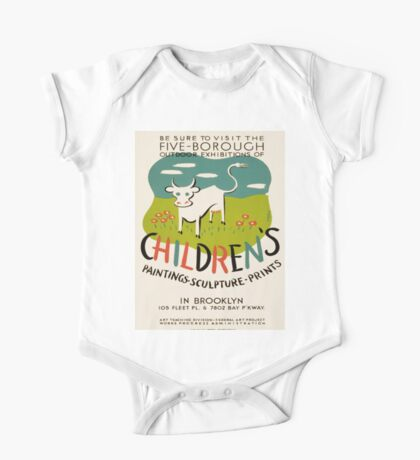 Vintage poster - Children's Paintings One Piece - Short Sleeve