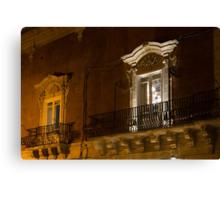 A Glimpse Through the Windows - Sicilian Baroque Palace & Venetian Chandelier Canvas Print