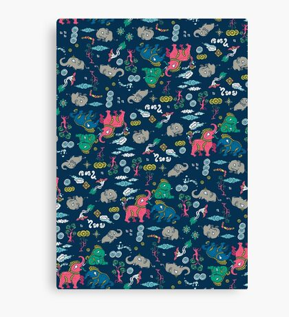 Thai Elephant pattern Canvas Print