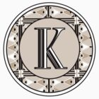 1920s Pink Champagne Gatsby Monogram letter K by CecelyBloom