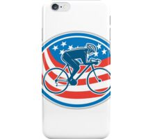 Cyclist Riding Mountain Bike American Flag Oval iPhone Case/Skin