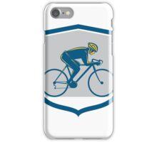 Cyclist Riding Mountain Bike Shield Retro iPhone Case/Skin