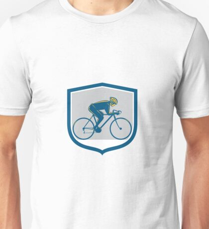 Cyclist Riding Mountain Bike Shield Retro Unisex T-Shirt