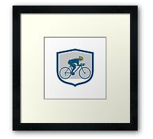 Cyclist Riding Mountain Bike Shield Retro Framed Print