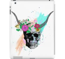 Floral sketch watercolor skull iPad Case/Skin