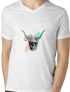 Floral sketch watercolor skull Mens V-Neck T-Shirt