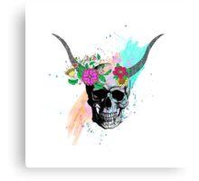Floral sketch watercolor skull Canvas Print