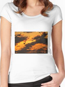 Key West Florida Sunset with Bokeh Birds Women's Fitted Scoop T-Shirt