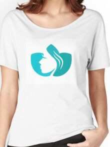 Beautiful female in turquoise lotus flower Women's Relaxed Fit T-Shirt