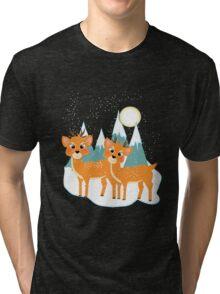 Christmas Festive Whimsical Reindeer Snow Scene Tri-blend T-Shirt