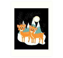 Christmas Festive Whimsical Reindeer Snow Scene Art Print