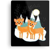 Christmas Festive Whimsical Reindeer Snow Scene Metal Print