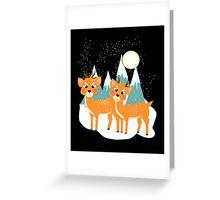 Christmas Festive Whimsical Reindeer Snow Scene Greeting Card