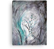 Tree Branches Impressionist Teal Gray Canvas Print