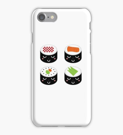 Sushi collection isolated on white iPhone Case/Skin