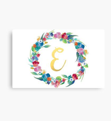 Floral Initial Wreath Monogram E Canvas Print