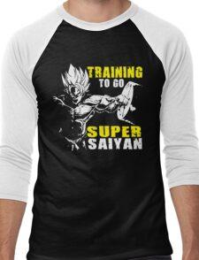 Training To Go Super Saiyan (Goku Hardcore Squat) Men's Baseball ¾ T-Shirt