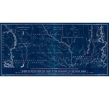 0071 Railroad Maps Map of the route surveyed from the Mississippi at Lake Providence in Louisiana to the great bend of Red river at Fulton in Inverted Photographic Print